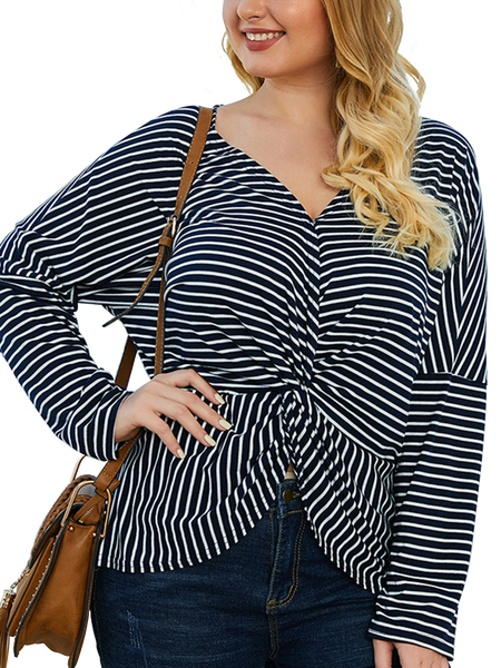 Plus Szie Navy Blue V Neck Casual Top