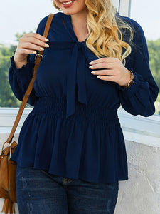 Royal Blue Casual Solid Tie-Neck Shirts & Tops