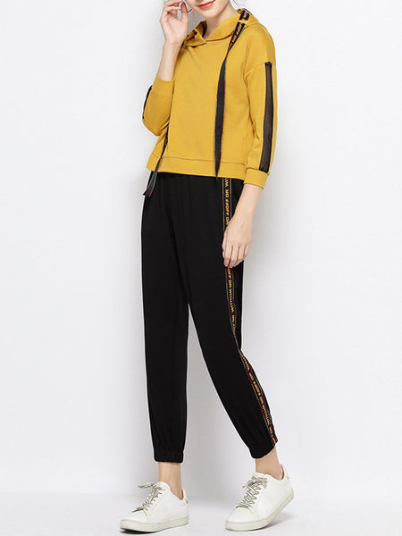 Paneled Letter Hoodie Casual Top with Pants Set