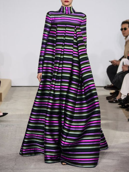 Multicolor Turtleneck Prom Striped Maxi Dress