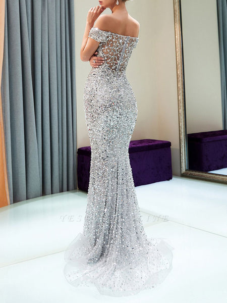 Shimmer Sheath Elegant Maxi Dress