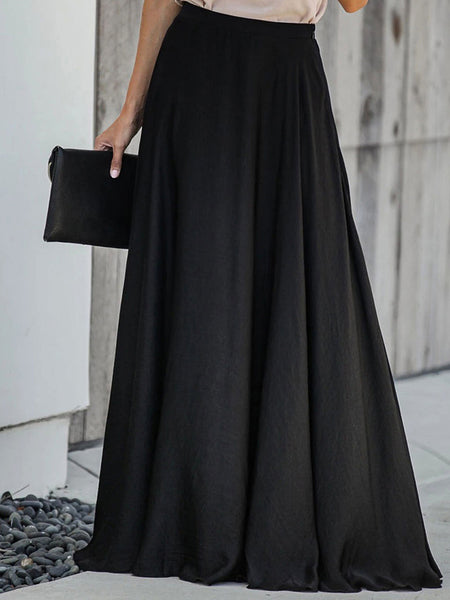 Solid Shift Casual Maxi Skirt