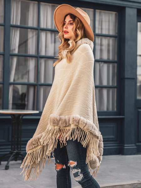Women's Lace Tribal Shawl Collar Boho Tassel Cape Coat