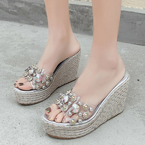 Crystal Rivet Wedge Heel Slippers