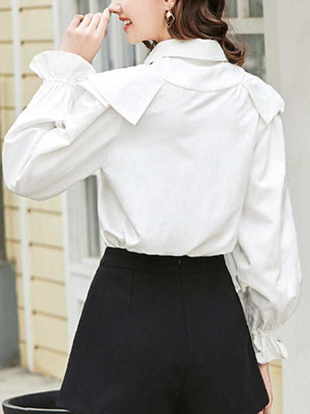Embroidered Ruffled Shift Sweet Blouse