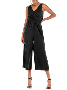 Ruched Sleeveless Shift Casual Jumpsuit