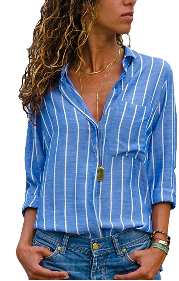 Green Striped Casual Cotton-blend Blouses & Shirt