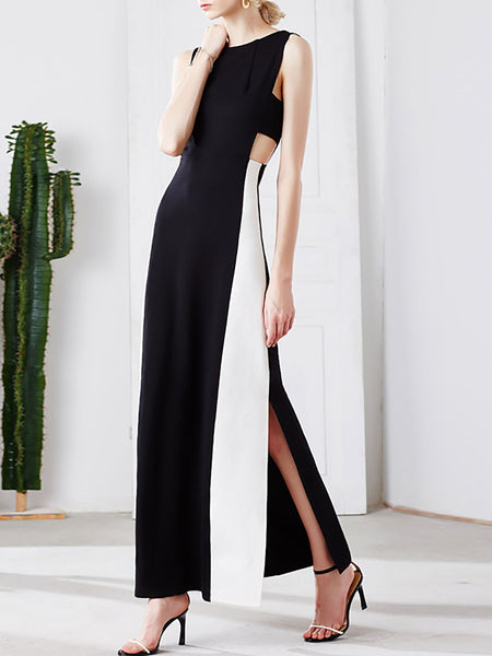 Black Maxi Dress Sheath Prom Sleeveless Slit Dress