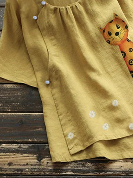 Yellow Sweet Cotton-Blend Floral Shirts & Tops