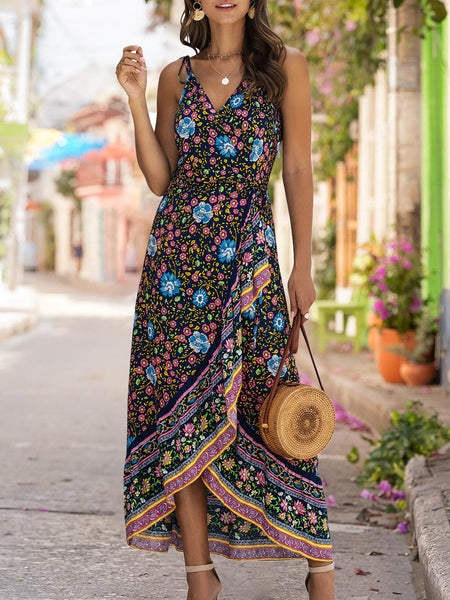 Purplish Blue Tribal Printed Beach Spaghetti Dresses