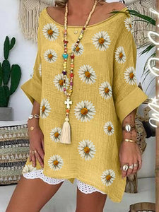 Yellow Casual Floral Cotton-Blend Shirts & Tops