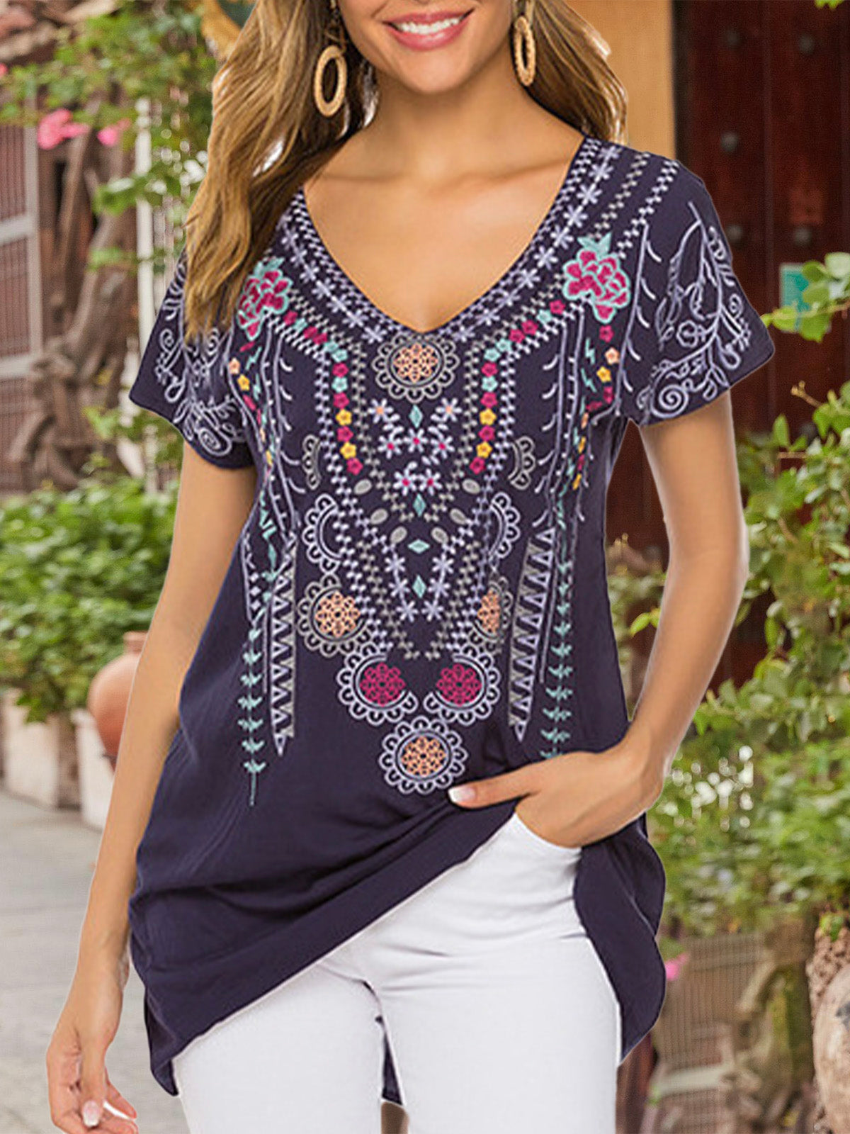 Blue Holiday V Neck Embroidery Top