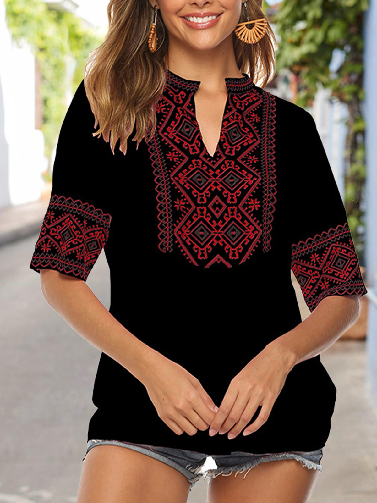 Half Sleeve Solid Embroidered V Neck Top