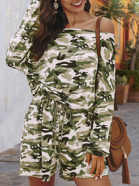 Casual Long Sleeve Camo One-Pieces Romper