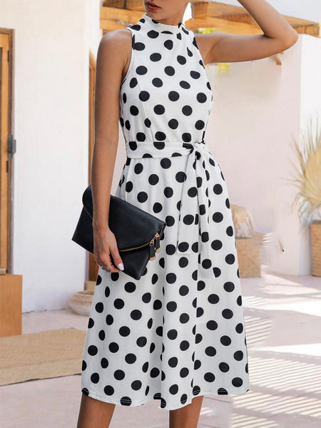 Stand Collar Dresses Shift Date Polka Dots Dresses