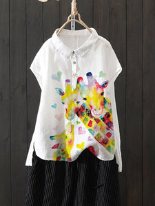 White Cotton-Blend Short Sleeve Animal Shirts & Tops