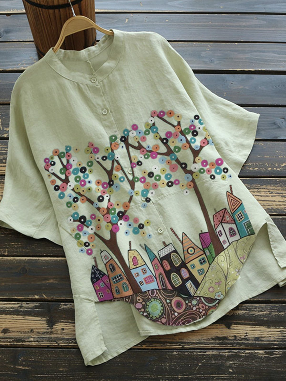Green Floral Cotton-Blend Vintage Shirts & Tops