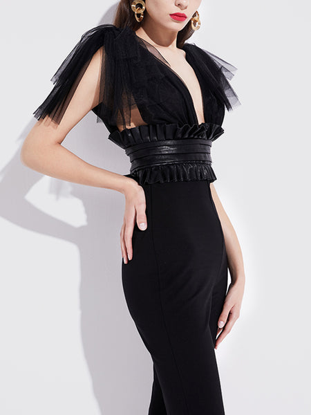 Black Solid Sheath Sexy Plunging Neck Sleeveless Going Out Jumpsuit