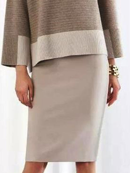 Knitted Color-Block Casual Top with Skirt Set