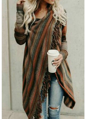 Asymmetrical Long Sleeve Stripes Casual Sweater