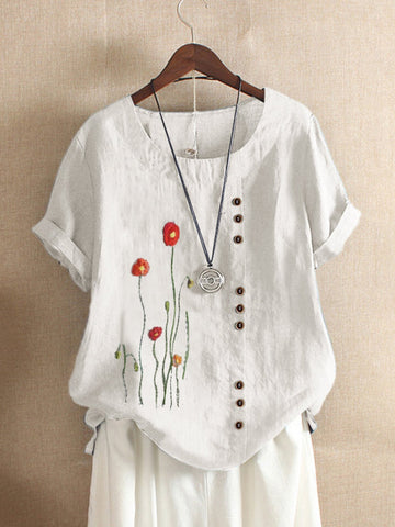 White Floral-Print Short Sleeve Shirts & Tops