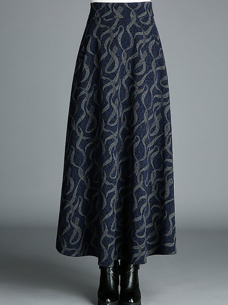 Fall Casual Work A-Line Gathered Maxi Skirt