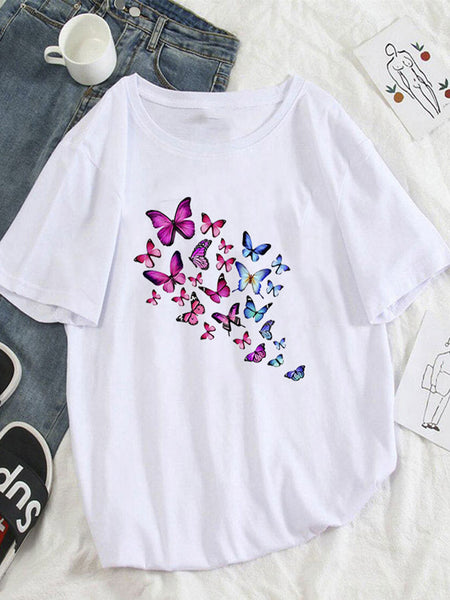 Vintage Short Sleeve Statement Butterfly Printed Crew Neck Plus Size Casual Tops