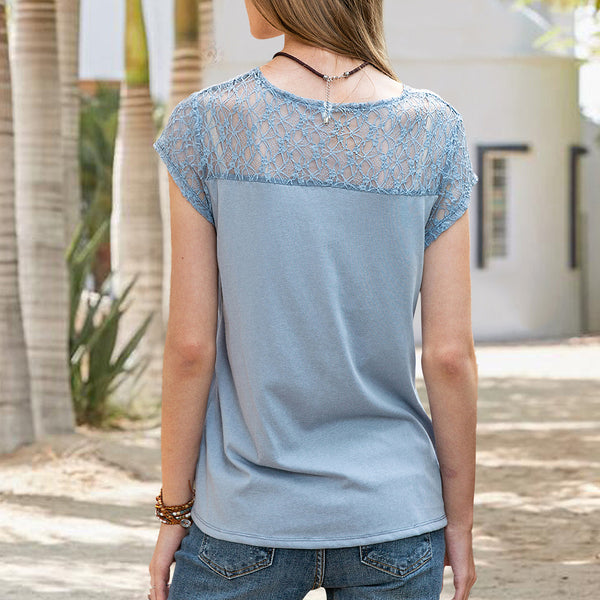 Women Short Sleeve Sweet Cotton-Blend V Neck Tee