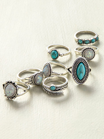 8PCS Eight Piece One Set  Retro Rings
