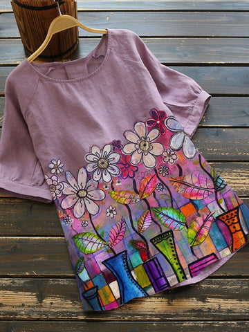 Violet Floral Short Sleeve Cotton-Blend Shirts & Tops