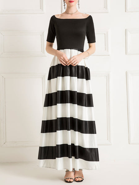 Stripes Color-Block Elegant Maxi Dress