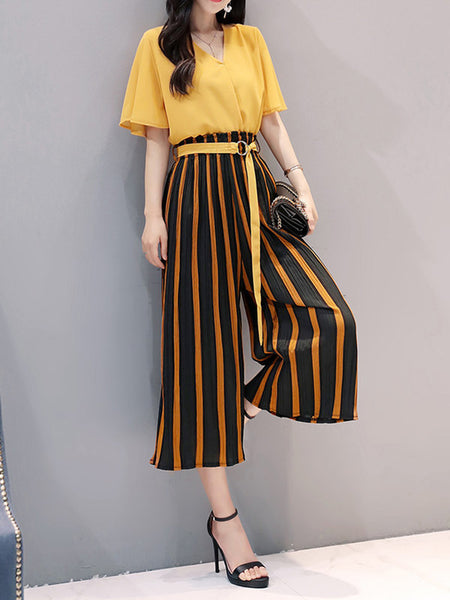 Bell Sleeve Stripes Top With Pants