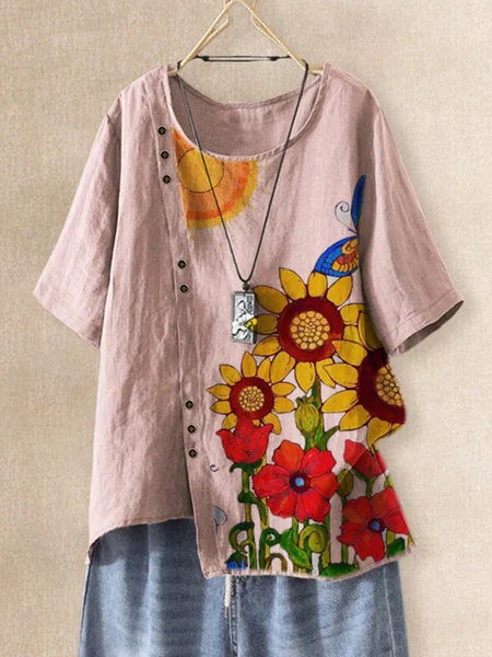 Pink Cotton-Blend Floral Short Sleeve Shirts & Tops