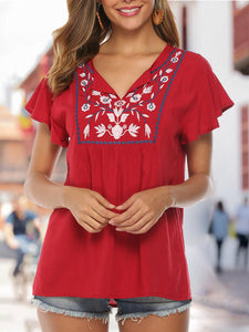 Red Floral Embroidered V Neck Holiday Top