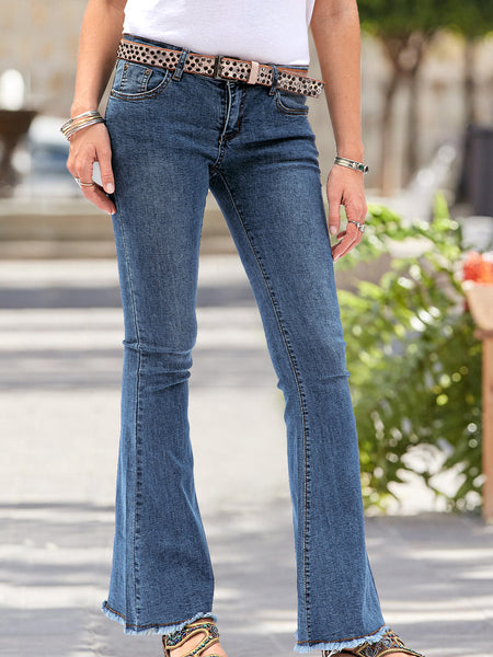 Women Denim Vintage Zipper Chic Pants
