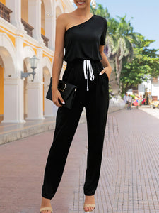 Black One Shoulder Casual Solid One-Pieces Jumpsuit