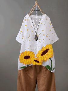 White Floral Short Sleeve Cotton-Blend Shirts & Tops