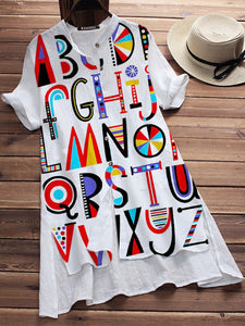 White Letter Short Sleeve Casual Shirts & Tops