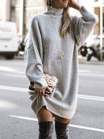 Casual Solid Turtleneck Long Sleeve Sweater