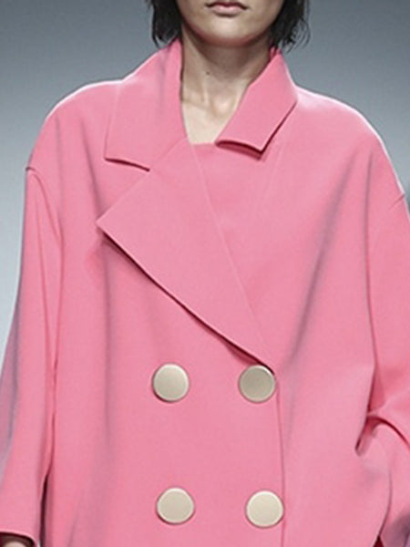 Pink Buttoned Lapel Coat with Pants Work Two-Piece Set