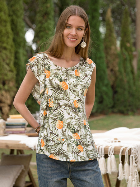 Women Casual Ruffled Plant Tank Tops