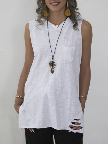 White Sleeveless Shift Cotton Shirts & Tops