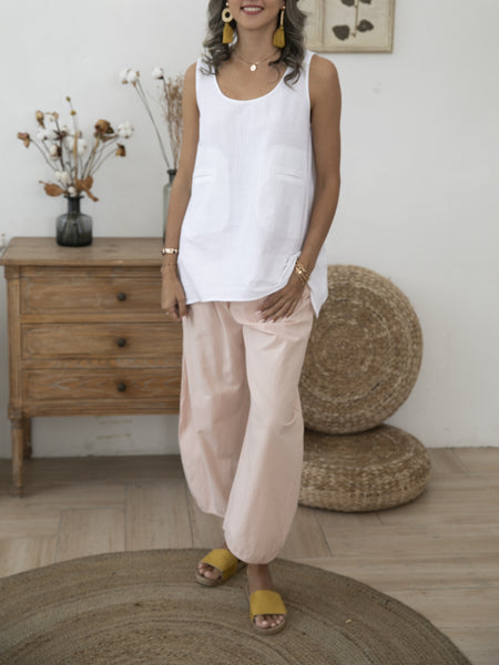 Pink Cotton Solid Casual Shift Pants