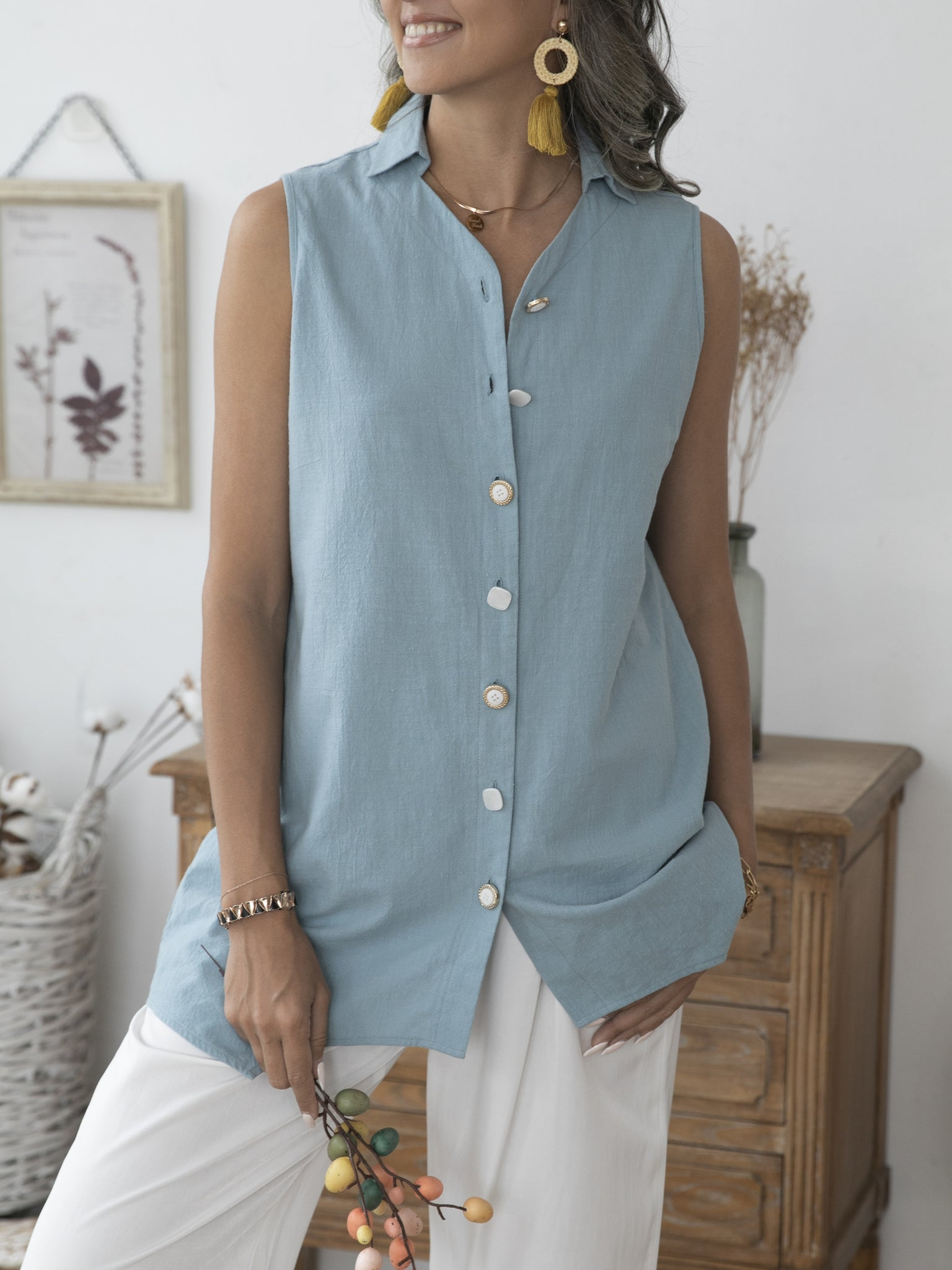 Green Blue Shift Simple Plain Shirts & Tops