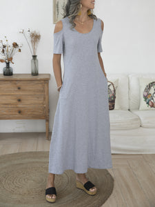 Gray Casual Plain Short Sleeve Knitted Dresses