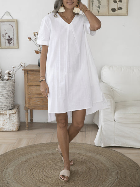 Off White Ruched Shift Short Sleeve Cotton Dresses