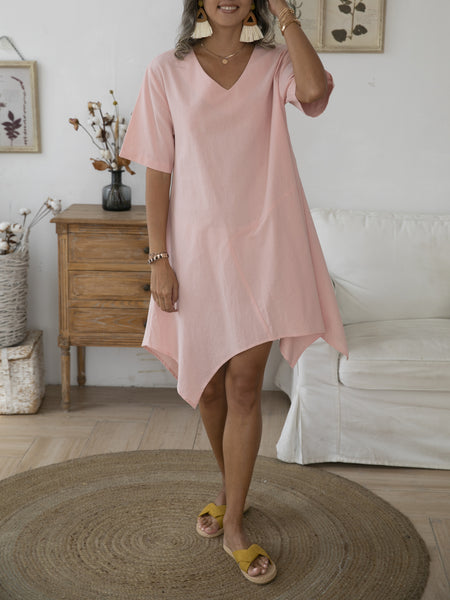 Pink Short Sleeve Asymmetric Shift V Neck Dresses