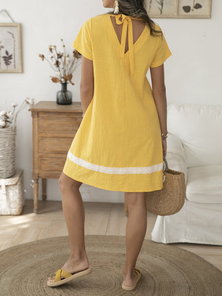 Yellow Casual Short Sleeve Dresses