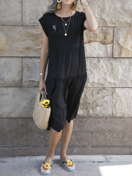 Black Short Sleeve Crew Neck Holiday A-Line Dresses