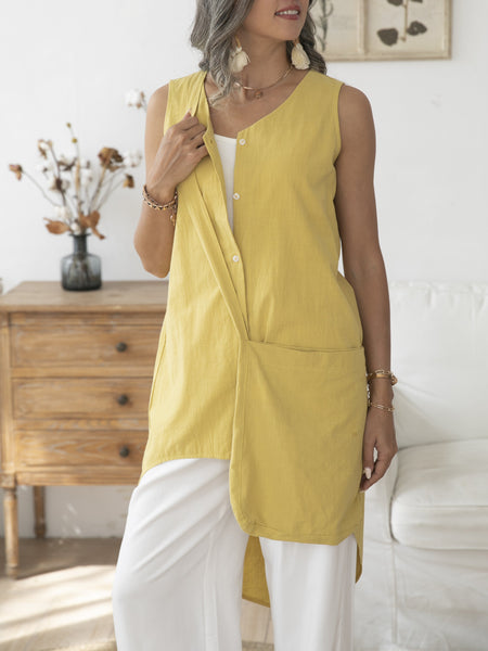 Yellow Simple & Basic Cotton Shirts & Tops